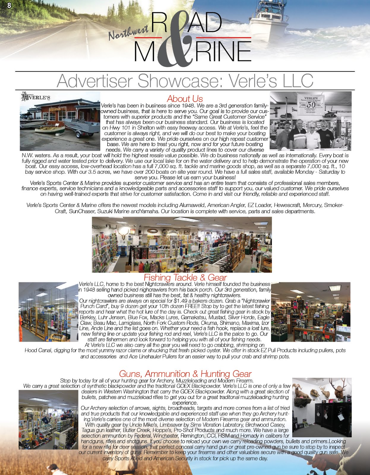 NW Road & Marine Advertiser Showcase: Verles, LLC.