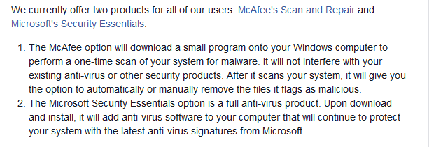 facebook backups microsoft security essentials and mcafee