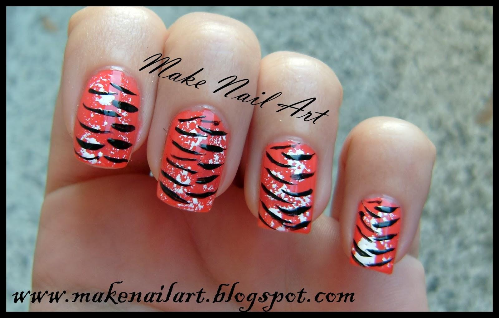 Make nail art october 2013 tiger print nail art tutorial prinsesfo Image collections