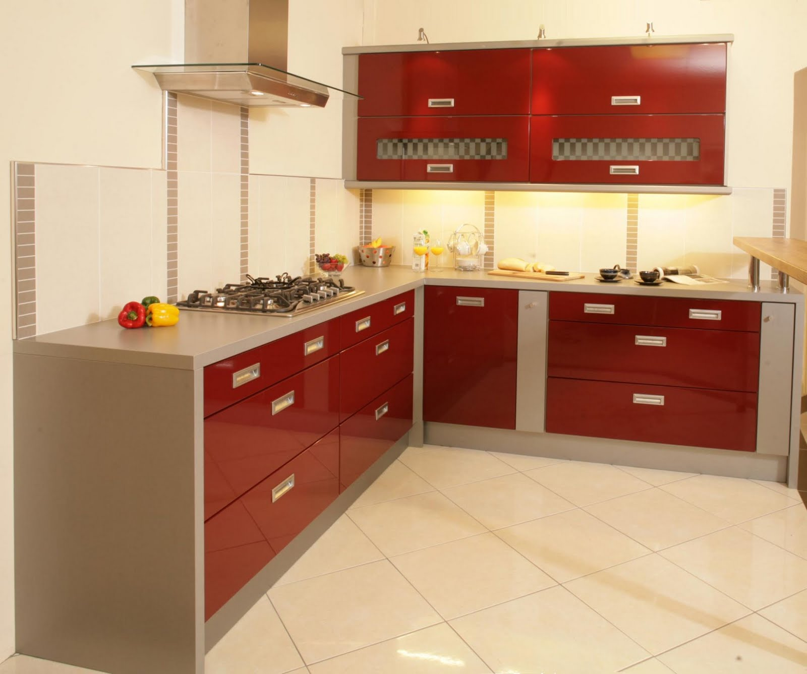 simple red kitchen cabinets title=