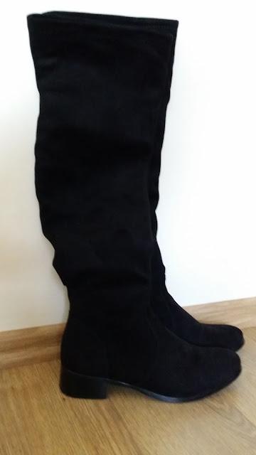 kozaki elilu czarne zamszowe za kolano