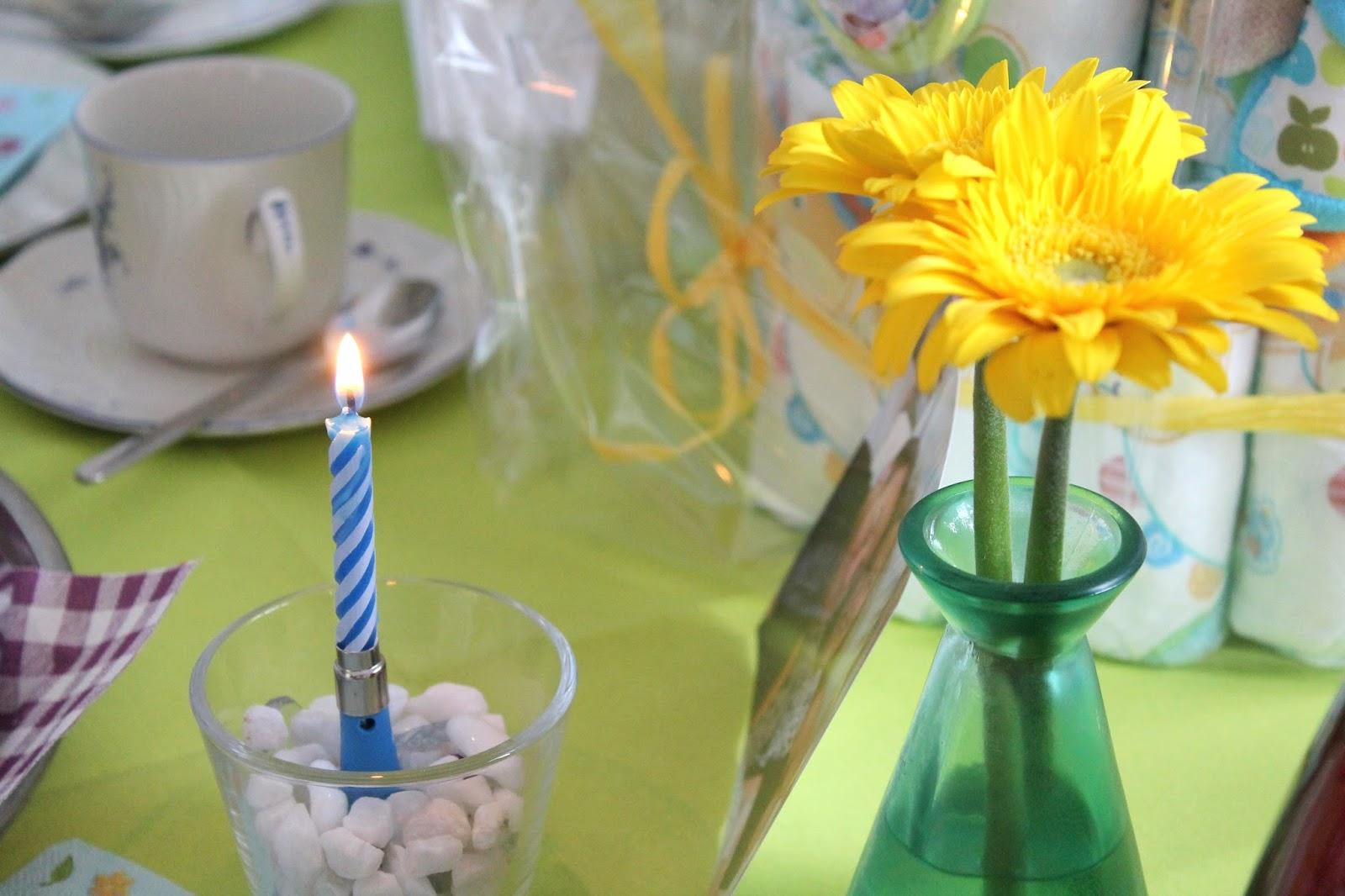 Tischdeko gelbe Gerbera Geburtstagskerze mit Musik