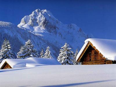 Casas cubiertas por la nieve