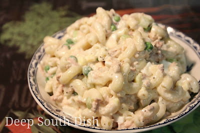 An old fashioned dish made from tuna, macaroni, chopped egg, celery ...