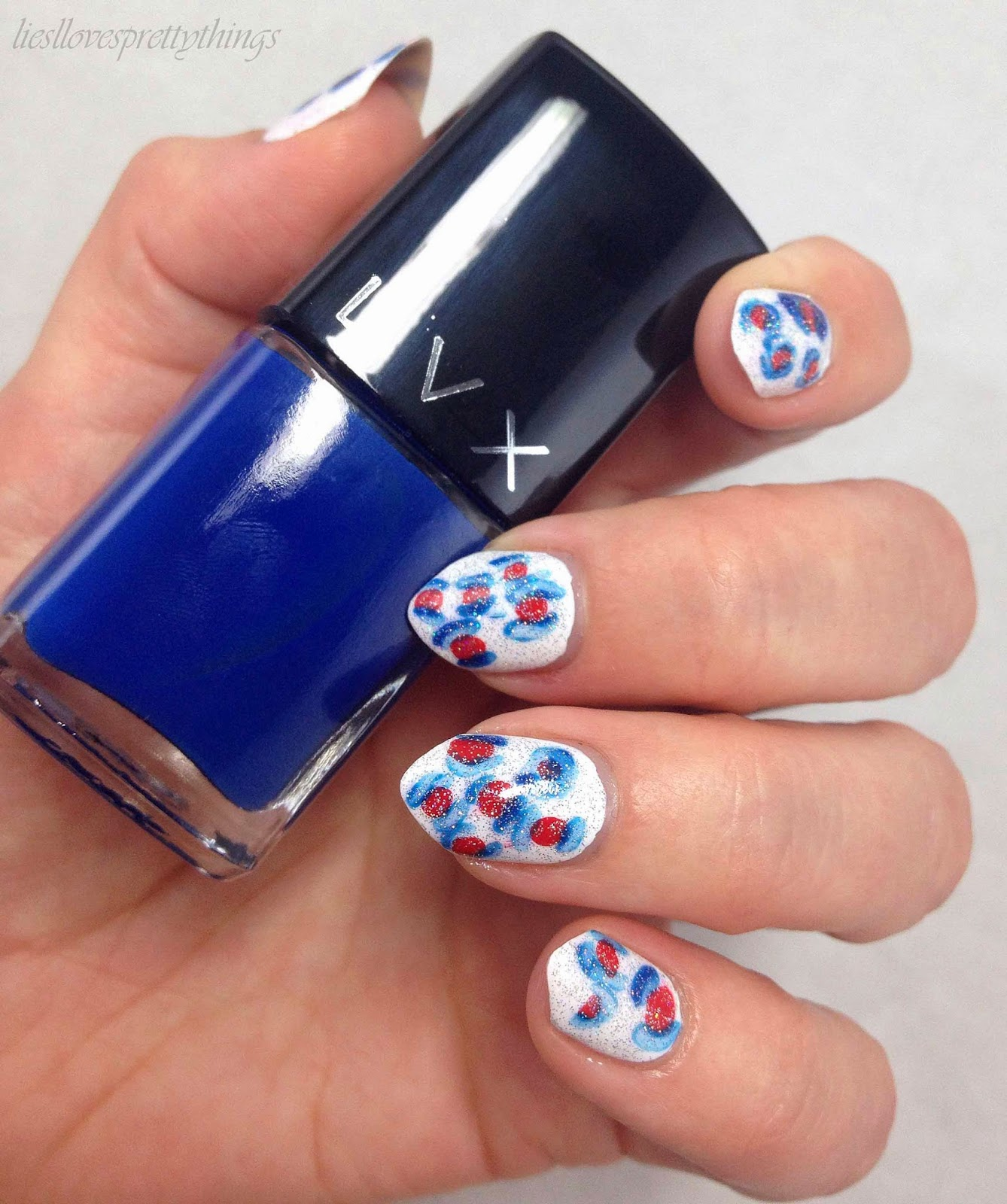 terrible Fourth of July leopard print nail art manicure