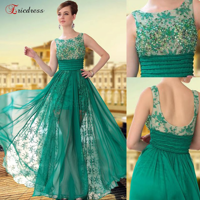 Fresh color summer gown for ladies