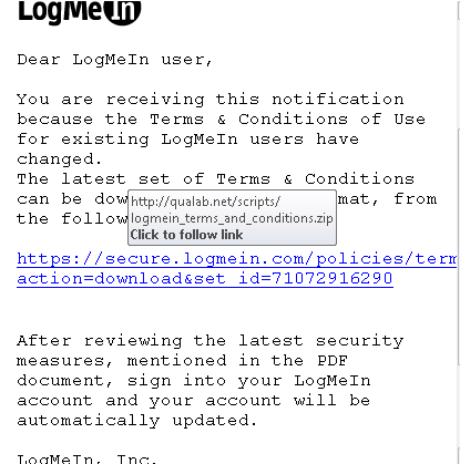 logmein email scam screenshot