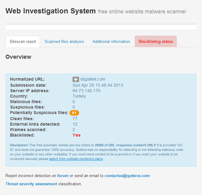 Quttera | Online Website Malware Scanner
