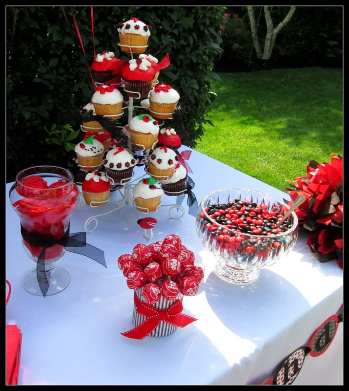 Ladybug party dessert table