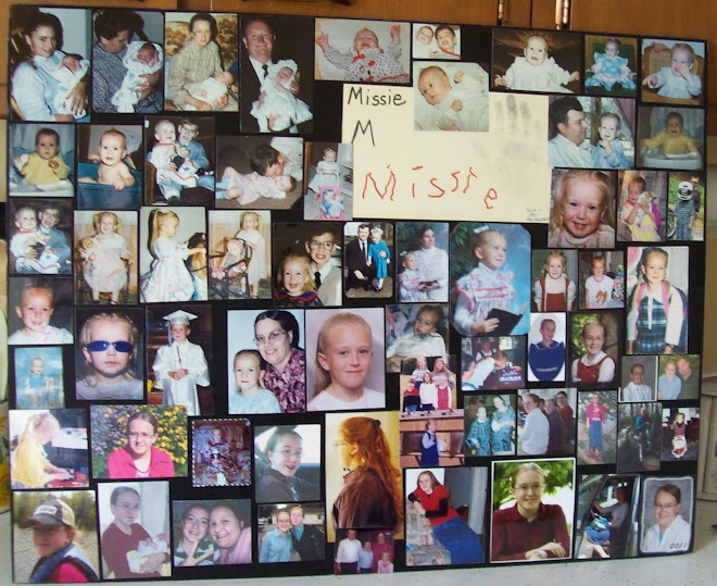 Collage of daughter, laminated pics instead of using mod podge over them.
