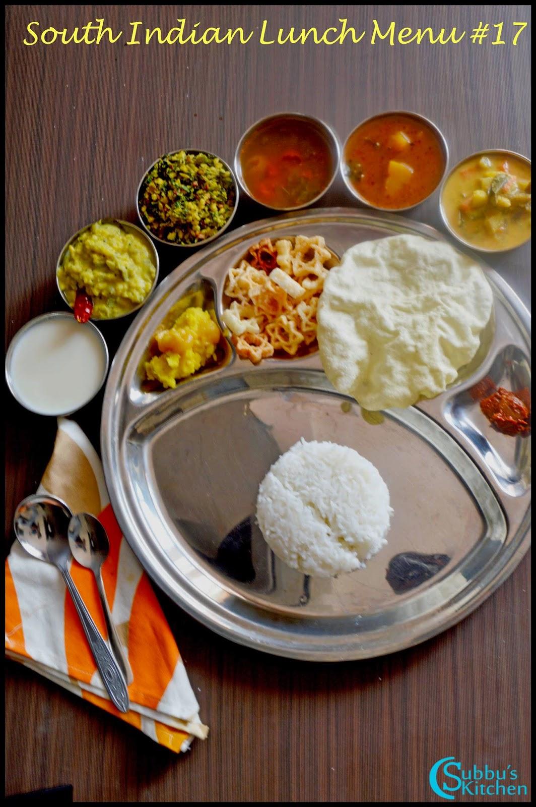 South Indian Lunch Menu 17 - Parangikkai Puli Kuzhambu, Aviyal Kuzhambu, Vengaya Rasam, Vendaya Keerai Thuvaran, Peerkangai kootu