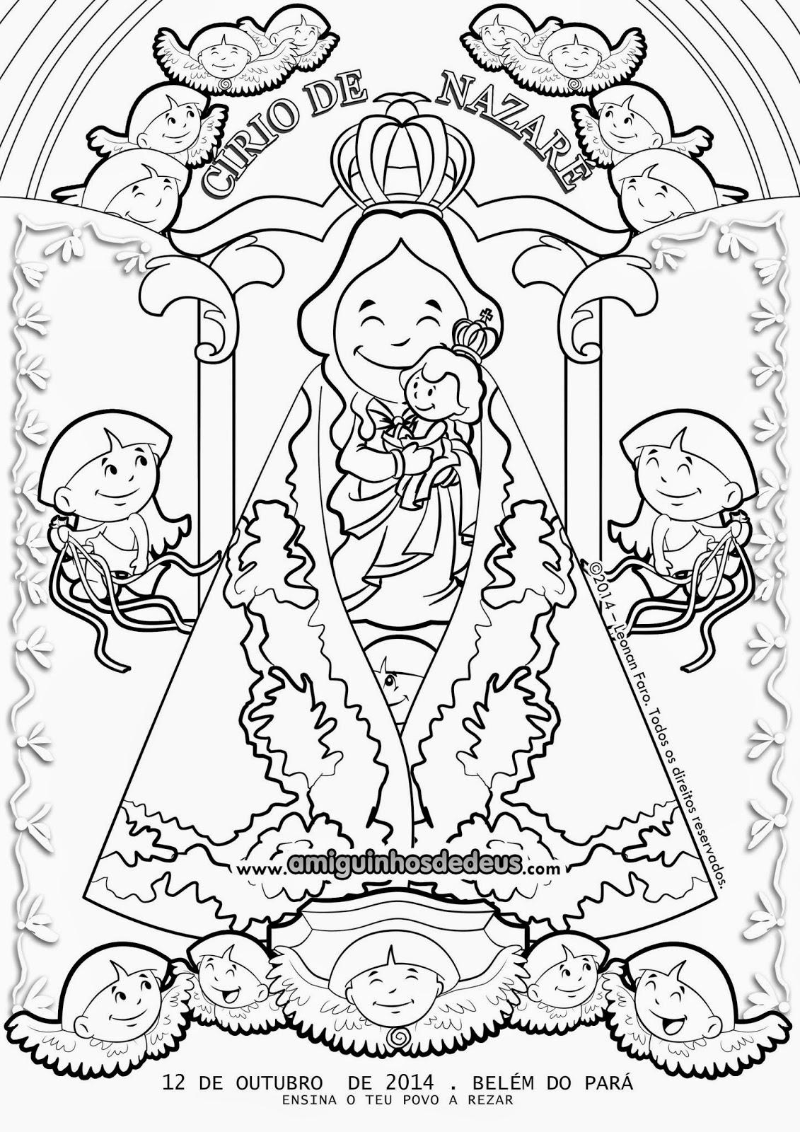 desenho do cartaz do círio de nazaré 2014 para colorir