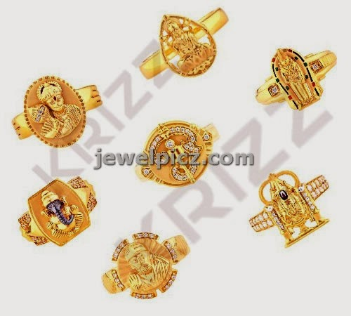 Ganesh hanuma baba gold rigs by krizz jewellery Latest Indian