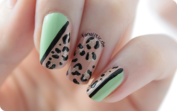"leopard cheetah print nailart ANNY ""high heel society"" + p2 ""illuminating green"" + misslyn ""copper rose"""