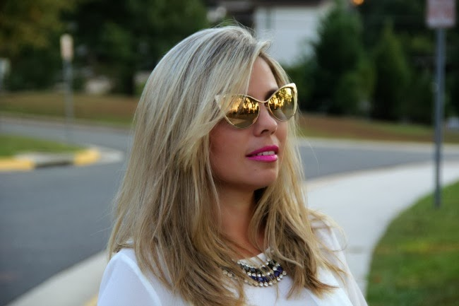 Pleated White Blouse, Nastasya Sunglasses - Tom Ford, Accessories - TJ Maxx