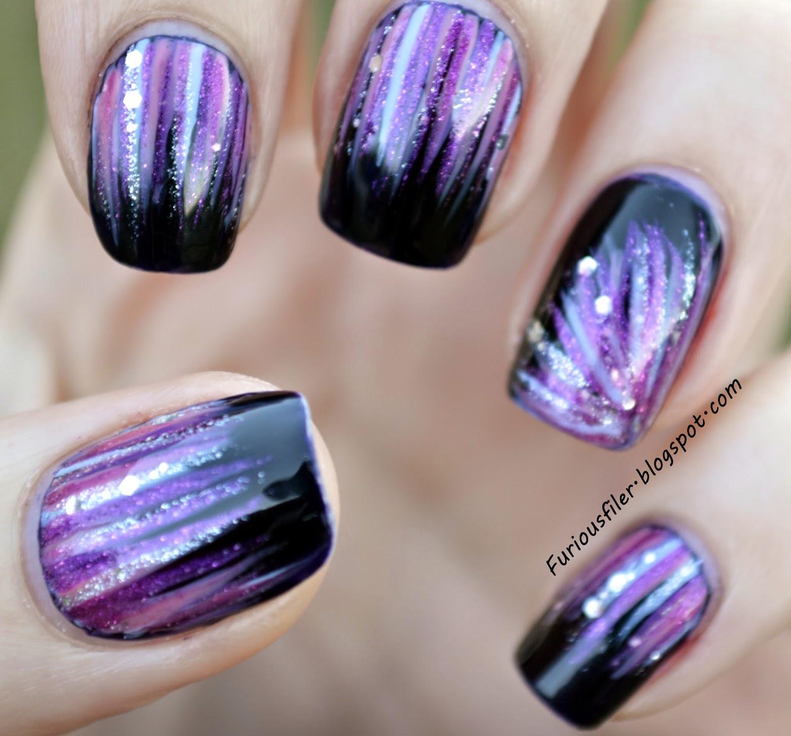 pinky purple glitter waterfall nailart