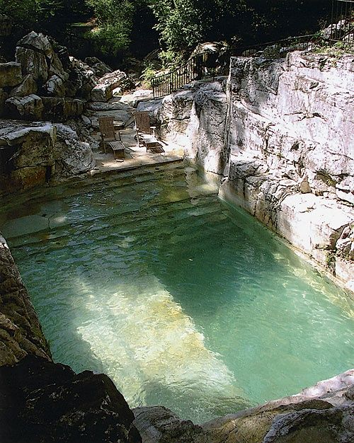 "image via imgur - old lime quarry turned into a backyard pool - collected by linenandlavender.net for ""Alfresco-Outdoor Living"" -  http://www.linenandlavender.net/2014/04/inspiration-file-outdoor-living.html"