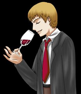 oenologue qui sent un verre de vin rouge