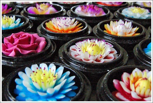 soap flowers at the chiang mai night bazaar