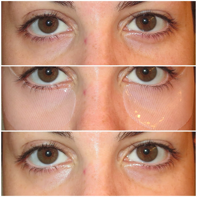 a picture of The Faceshop Raspberry Roots Collagen Eye Patches (before & after results)