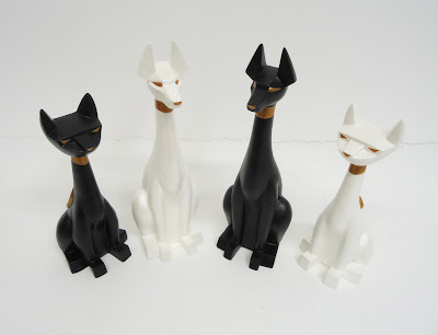 Pharaoh Hound Resin Figures by Argonaut Resins - Pearl White & Black Onyx Colorways with Matching Tuttz Resin Figures