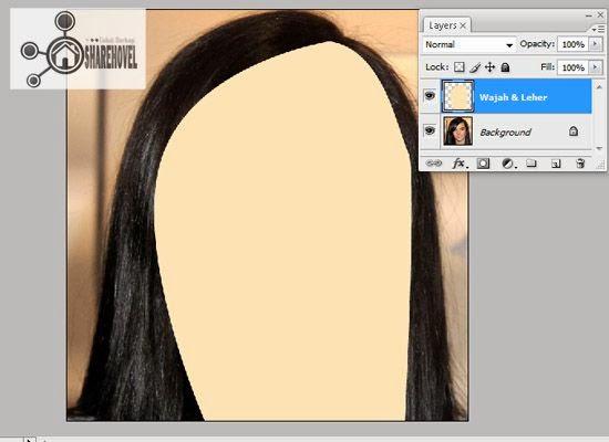hasil fill path dari pola vector wajah yang telah dibuat - tutorial membuat vector di photoshop - membuat foto menjadi kartun dengan photoshop