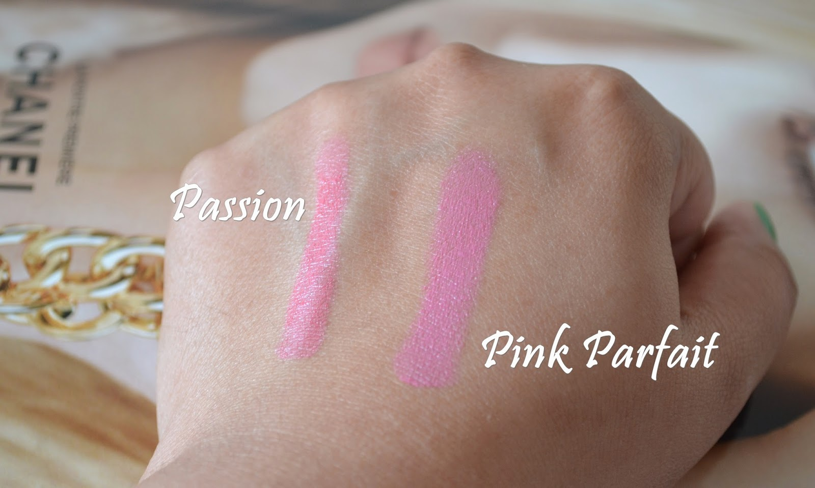 GOSH Giant Blush in Passion & Pink Parfait Swatch - Aspiring Londoner