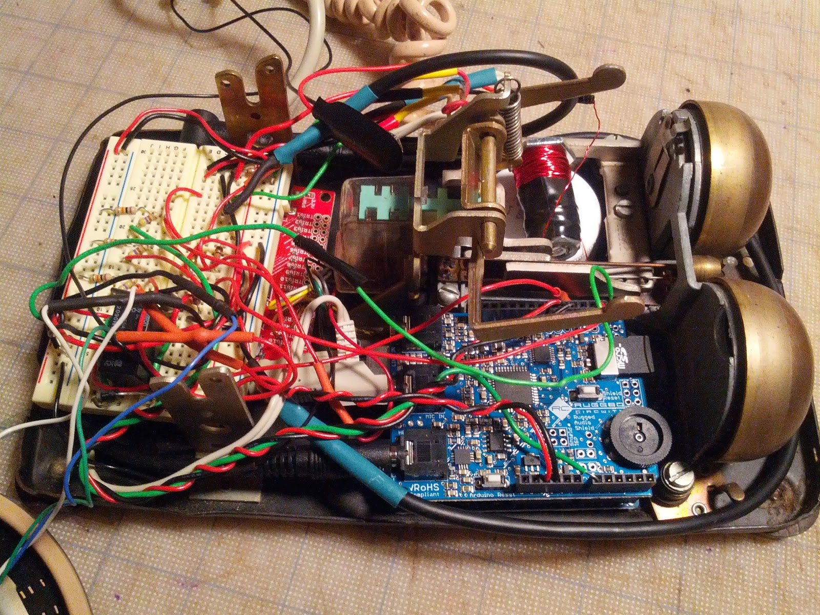 New Project Arduino Rotary Phone Audio Maelstrom Using A Microphone With An Electrical Engineering Some Of The Final Steps Involved Removing Network Terminal From Inside Thats Large Block Wire Connections In Photo Near Top