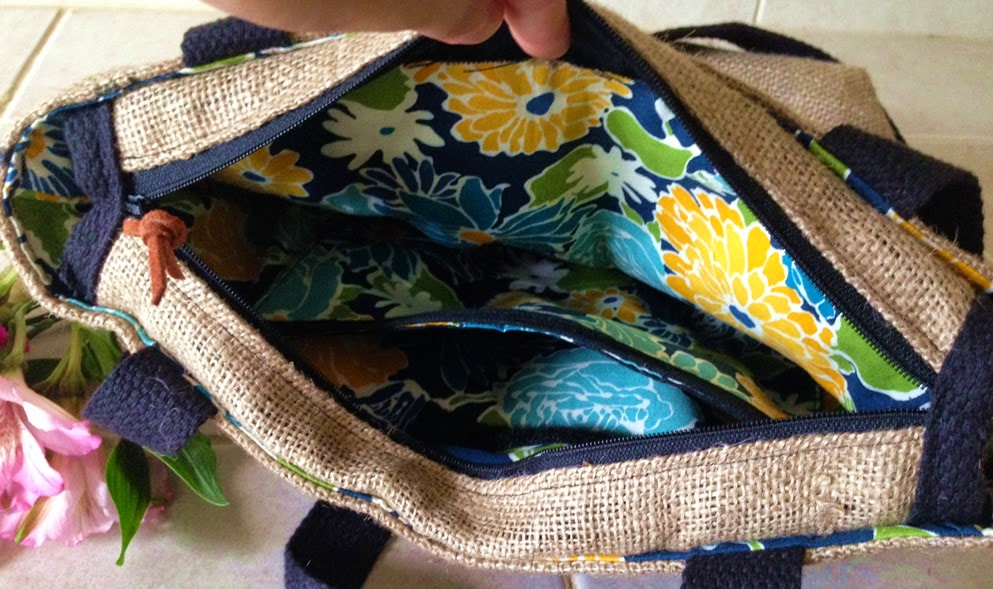 floral lining Water Bag - linaandvi.blogspot.com - burlap Grounds bag - Plymouth MI