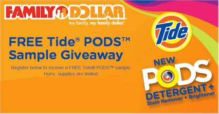 daily cheapskate free tide pods sample giveaway from family dollar