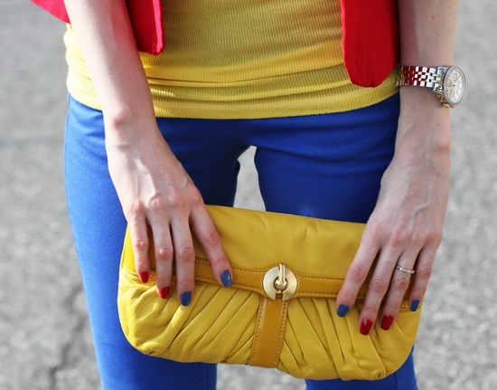 Perlina New York Yellow Leather Clutch Nail Polish American Apparel Cameo Blue Brucci Ann's Red On
