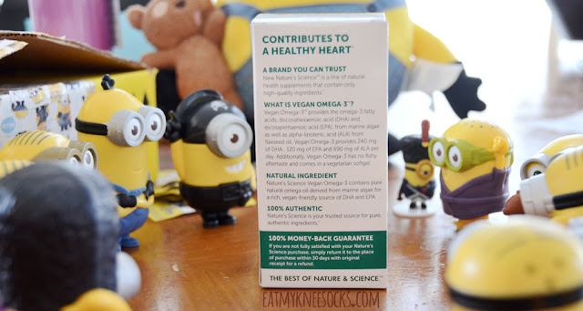 Omega-3 fatty acids, with DHA and EPA, have heart-healthy benefits, and Nature's Science sells all-vegan Omega-3 softgels, as pictured here with the cute minion toys from McDonald's.