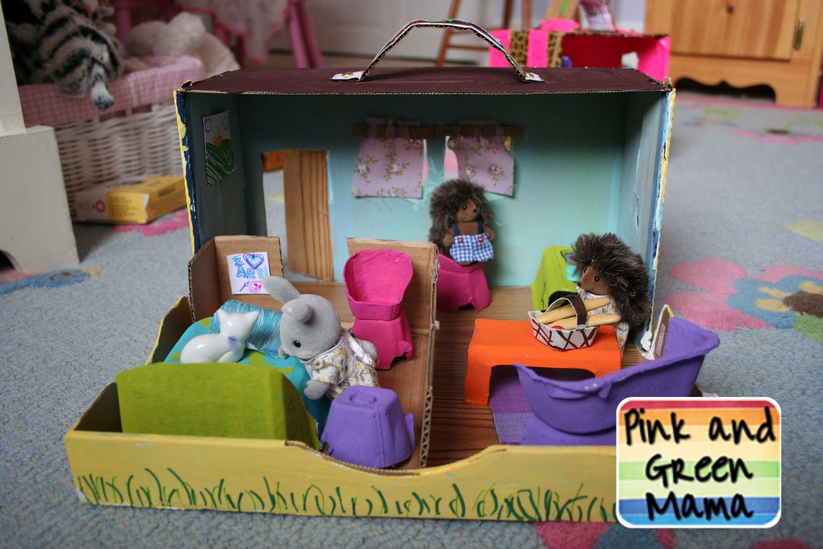 Pink And Green Mama Cardboard Shoe Box Play House With