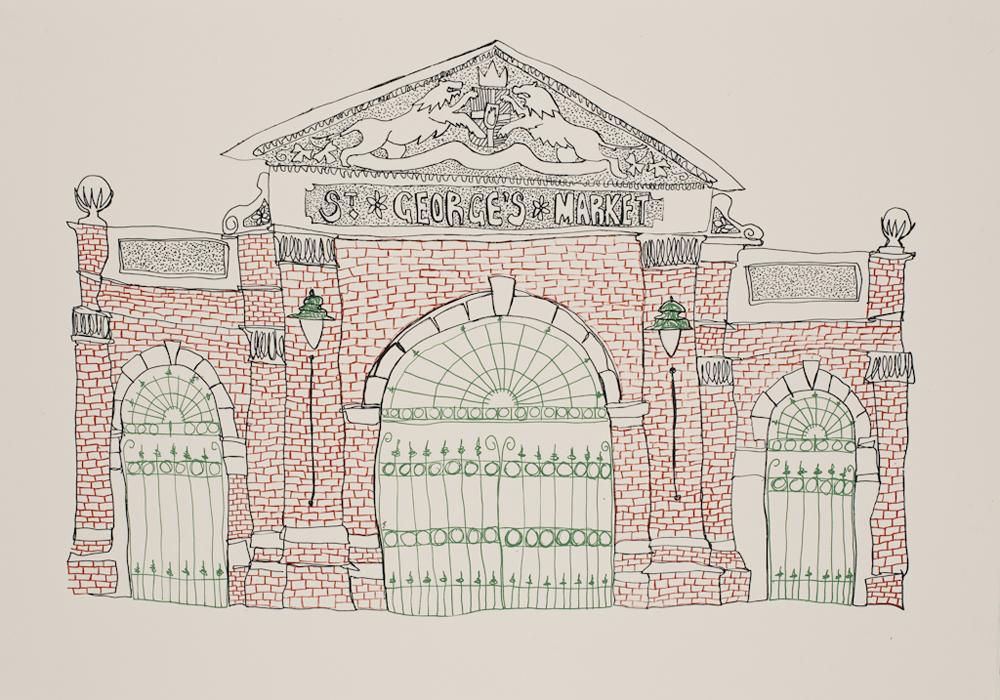 St George's Market print by Flax Fox, Belfast