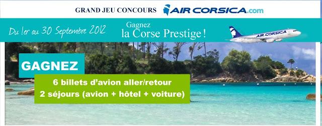 2 séjours en Corse et 6 billets d'avions à gagner