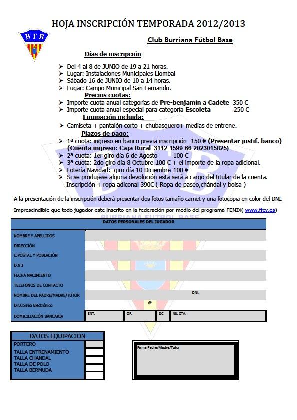 Inscripciones temporada 2012-2013