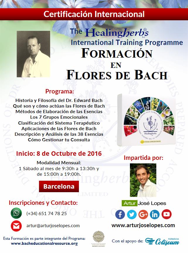 Inicio de la próxima Formación en Flores de Bach: 8 de Octubre.
