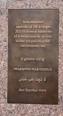 Μνημείο για την τριάδα γενοκτονίας στο Ορεμπρό της Σουηδίας (2015).