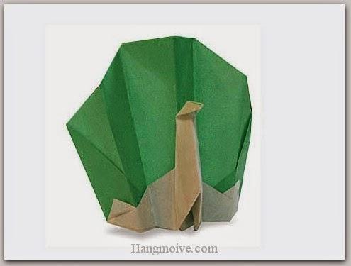 Cách gấp, xếp con chim công bằng giấy origami - Video hướng dẫn xếp hình Động vật - How to fold a Peacock