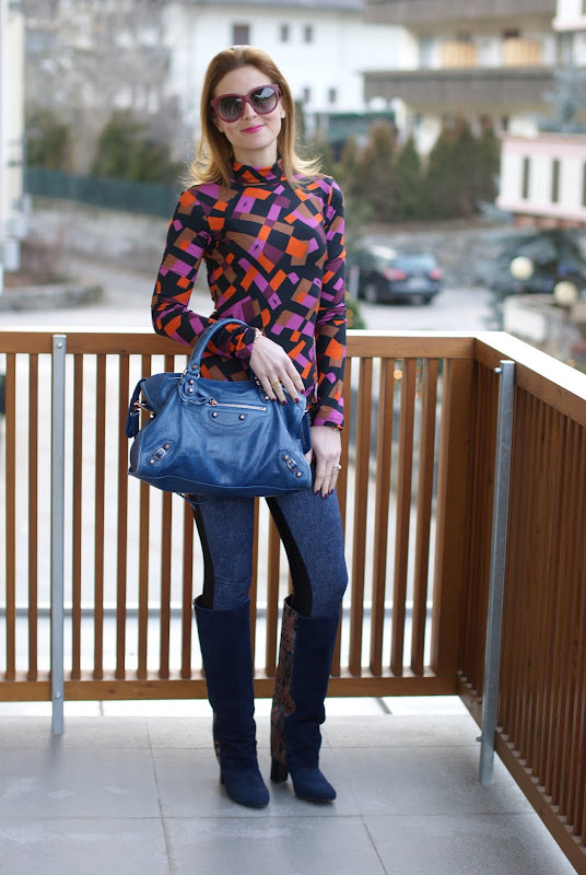 Cesare Paciotti blouse, kai-aakmann leggings, Asos clash boots
