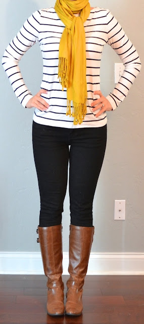 Adorable fall outfits stripes, boots and scarf