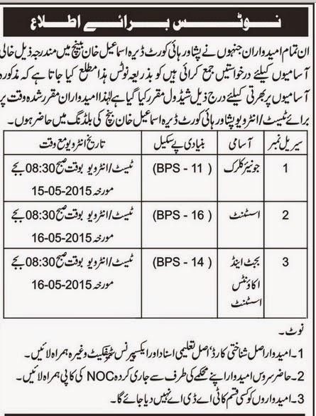 Aaj, GOVT JOBS, Session Courts Jobs, Punjab, Assistant Job, Jr Clerk, Budget Accounts Officer Jobs, Dera Ismaeel Khan,