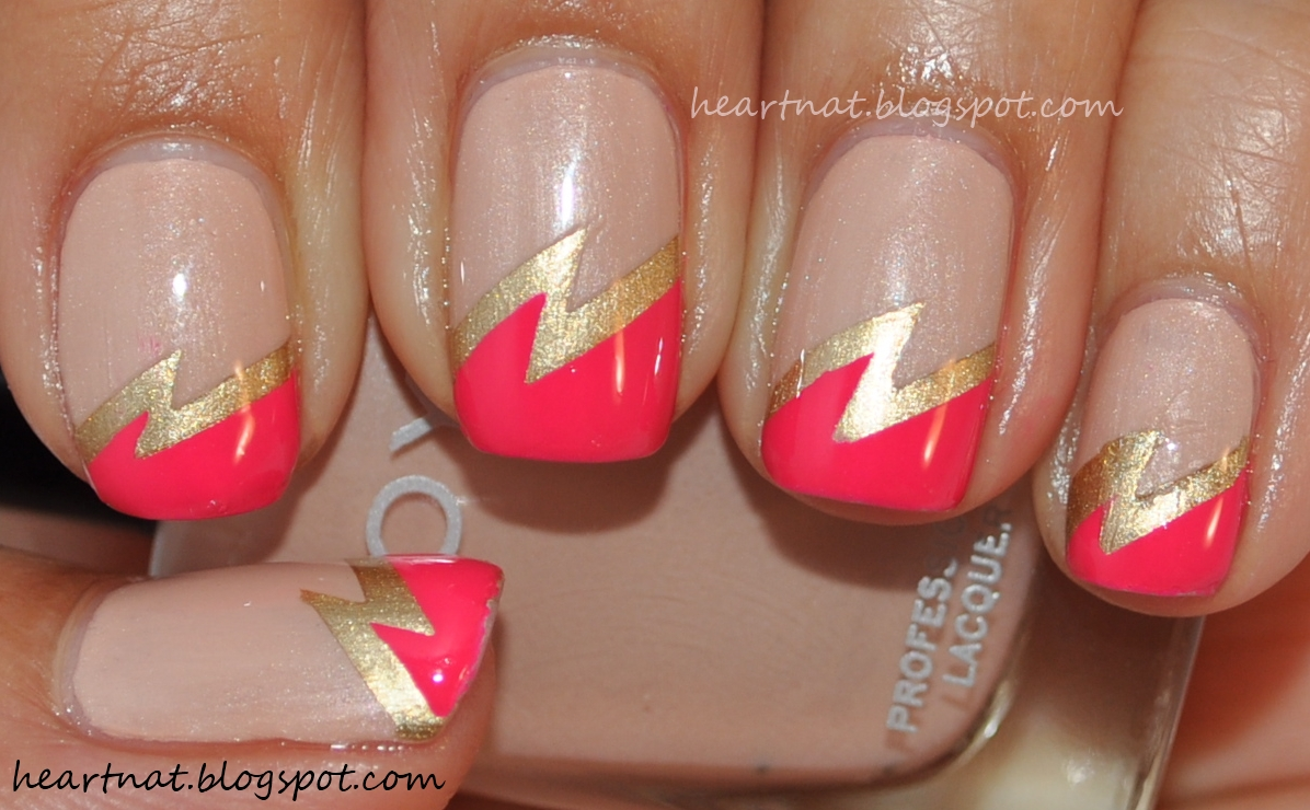 french nail art: Nude, Gold, and Hot Pink Double Lightning Bolt Nails