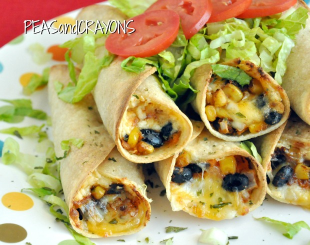 Baked Black Bean and Sweet Potato Flautas