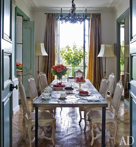 blue and withe dining room parquet wood floors