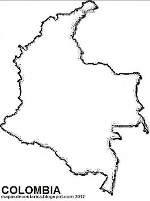 Mapa de COLOMBIA, blanco y negro