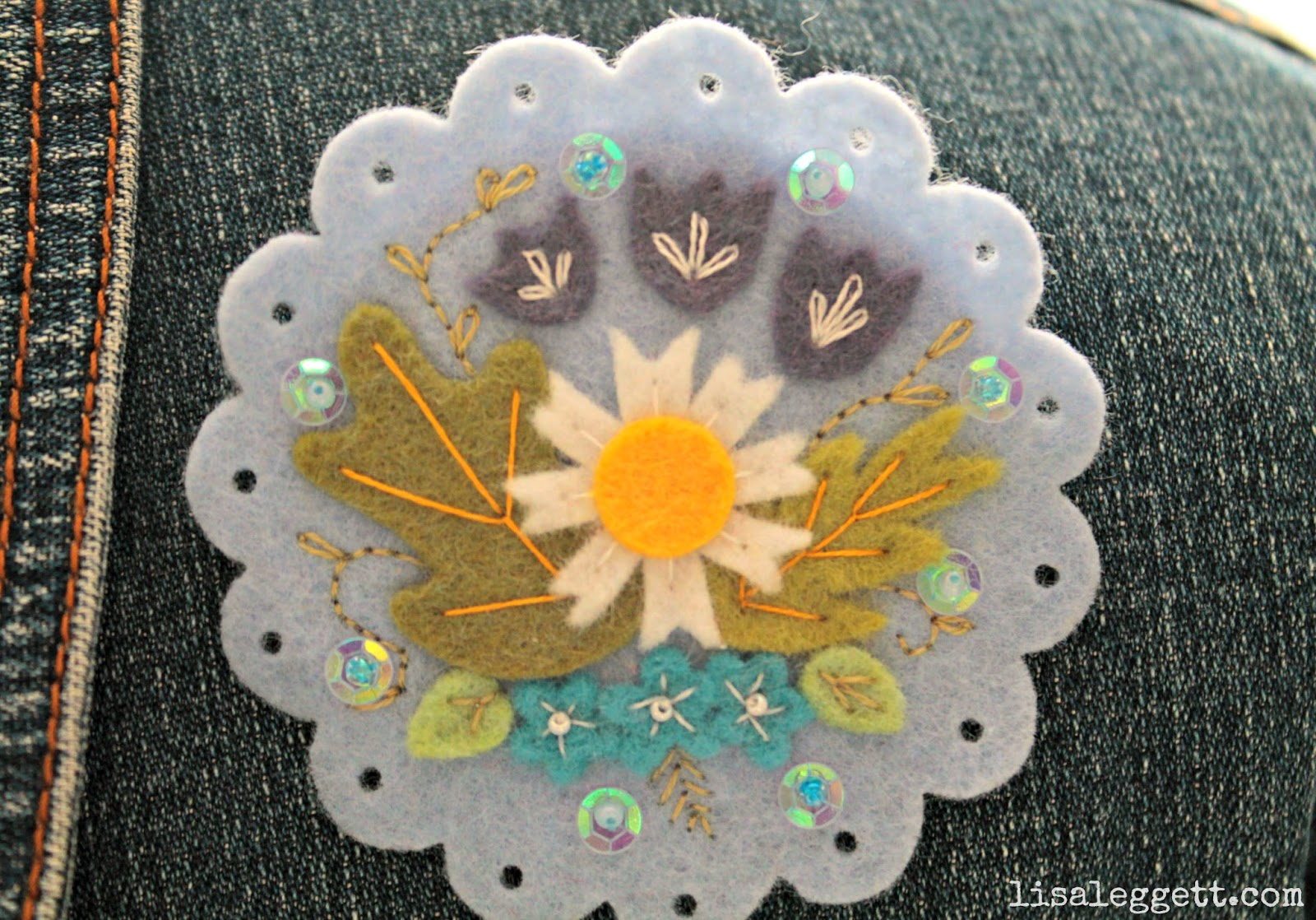 Light Blue Embroidered Felt Broach by Lisa Leggett