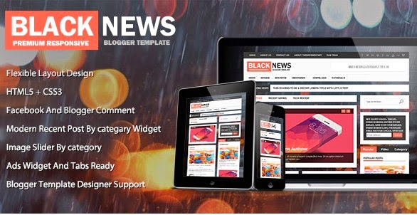 Black News Premium Blogger Template Free Download