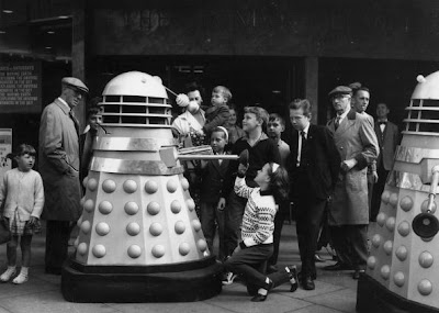 20th August 1964:  A dalek prowls a London street. Daleks featured in the children's television series 'Dr Who'.  (Photo by Harry Todd/Fox Photos/Getty Images)