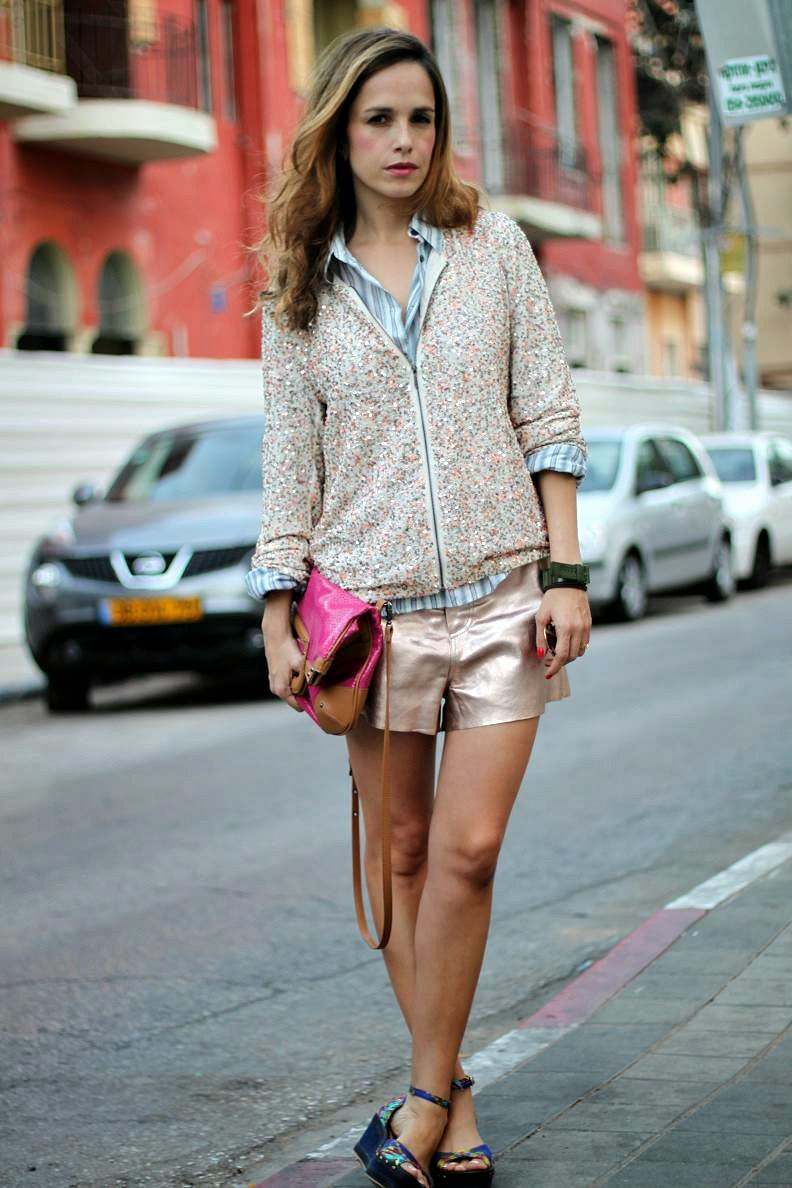 street-style,look,update,pieces,leather-shorts,jacket,metalic,edgy